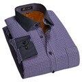 Высокое Качество Мужские Рубашки С Длинным Рукавом Тепловые Slim fit Социальные Рубашки Мужчины Блузка Бренд Одежды Повседневная Полосатой Рубашке Мужчины