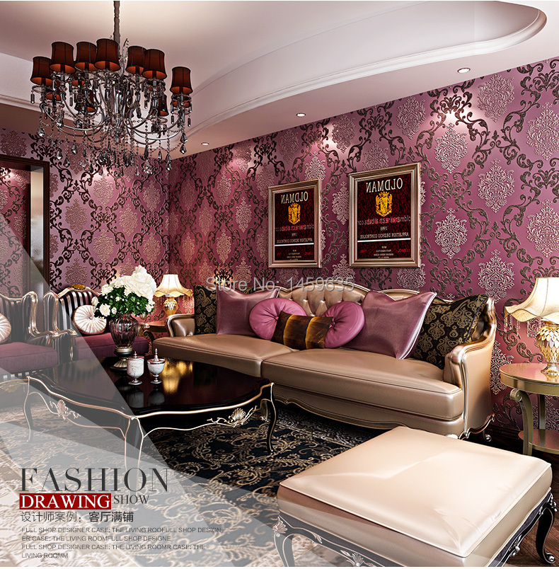 Luxury modern 3d embosswed background wallpaper for living for Pink living room wallpaper