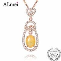 Almei Femminile 0.6ct Opal Collana Dei Pendenti Solid 925 Sterling Argento Rosa Color Oro Gioielli Collares con Catena Box CN024