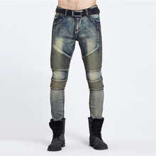 Europe and the United States high street tide brand BIKER JEANS Slim men's motorcycle folding jeans feet fashion men jeans