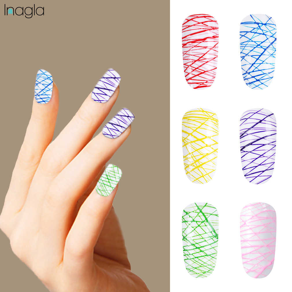 Inagla 5ml Stamping Polish Gel Varnish Spider Silk Gel Nail Polish 12 Colors Nail Art Manicure Long Lasting Base Top Coat