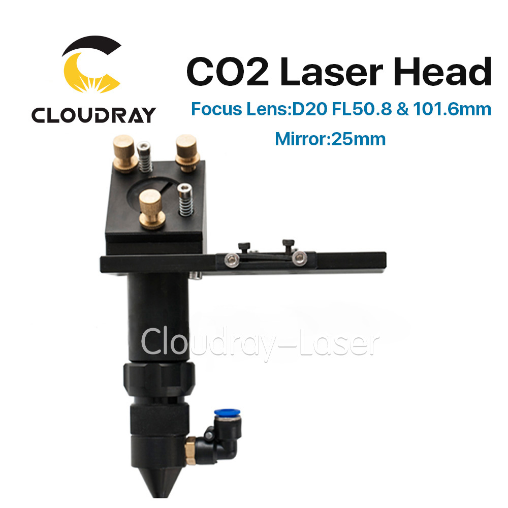 Cloudray CO2 Laser Head for Focus Lens Dia.20 FL.50.8 & 101.6mm & Mirror 25mm Mount for Laser Engraving Cutting Machine best quality aluminum laser head for co2 laser cutting engraving machine lens dia 20mm fl63 5mm left in beam