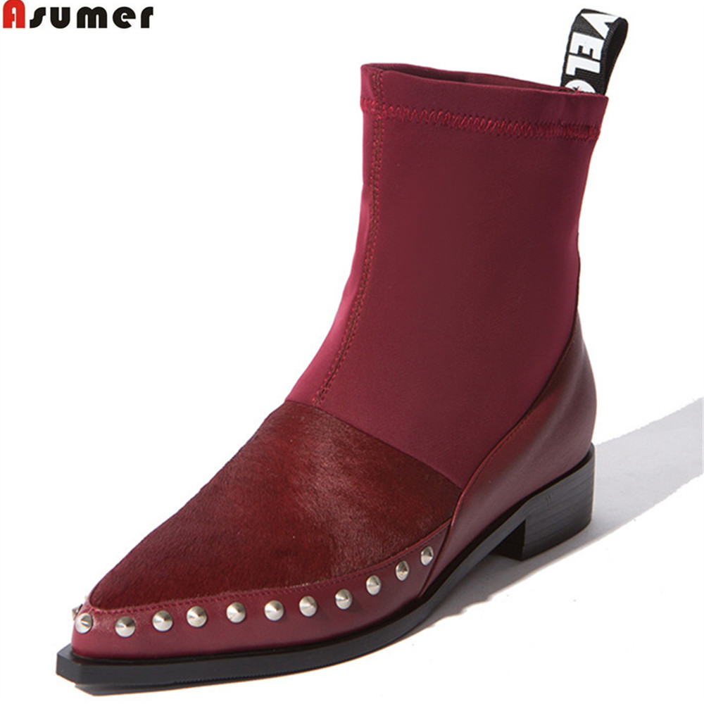 Asumer wine red black fashion women boots pointed toe ladies Horsehair+cow leather+Leica botos square heel ankle boots low asumer black white fashion new women boots pointed toe genuine leather boots zipper cow leather ankle boots low heel shoes