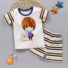 Cute Infant Baby Boy Print T-shirt Tops+Pants Outfit Baby Boy Clothes Set Cotton Summer Baby Boys Clothing Toddler Boy Clothes cheap Unini-yun Fashion Short cartoon O-Neck REGULAR Coat Pullover Fits true to size take your normal size Children Sets