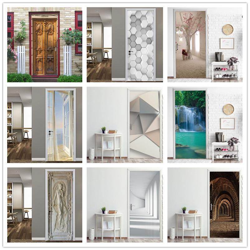 Door Stickers 2019 New Style Pattern Wallpaper On Door For Living Room Bedroom Corridor Self-adhesive DIY Home Art Decor Mural