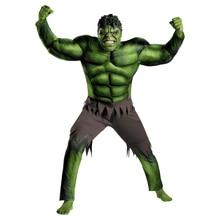 On Sale Adult Men's Muscle Hulk Halloween Costume Marvel Avengers Superhero Fantasy Movie Fancy Dress Cosplay Clothing