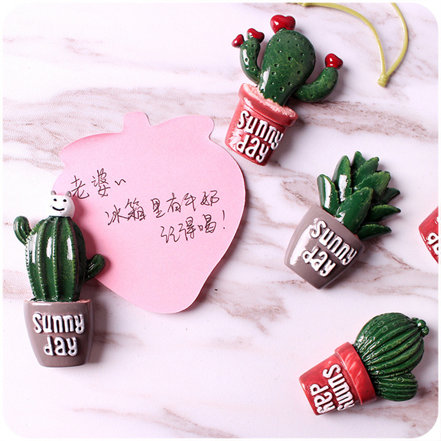 2 pcs cute cactus fridge magnets whiteboard sticker refrigerator magnets kids gifts home decoration e