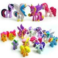 12ピース/セット3-5センチかわいいpvc馬アクション玩具フィギュアおもちゃ人形地球レインボーヘアーバンドユニコーンペガサスalicornバットレインボーヘアーバンドフィギュア人形用gir