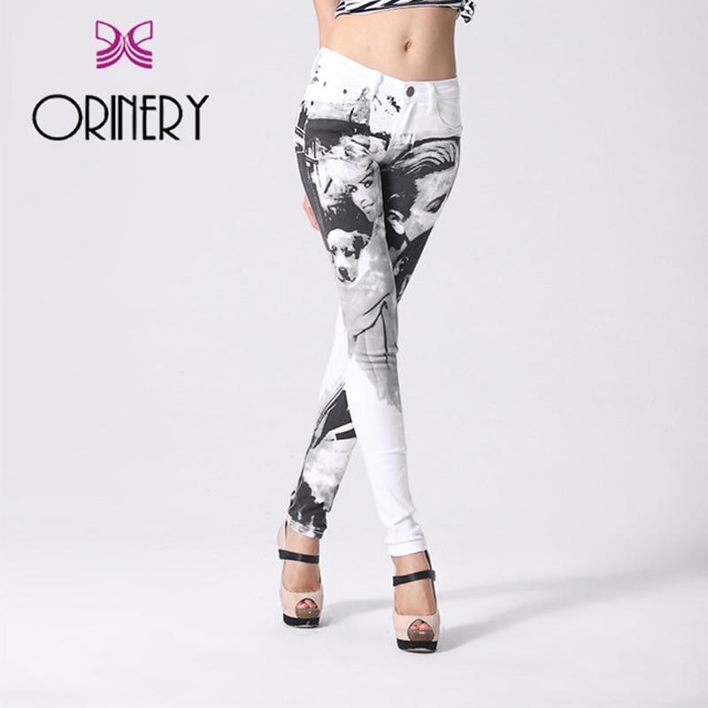 ORINERY 100% Original Designer Printed Jeans Woman High Quality Denim Skinny Jeans Woman White Brand Clothing Plus Size