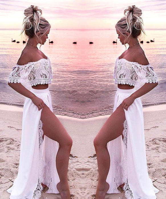 Two Piece Lace Off Shoulder Bikini Cover Up Beach Dress 7