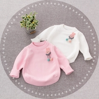 WYNNE GADIS Autumn Winter Baby Girls Cute Rabbit Long Sleeve O Neck Knitwear Sweater Kids Pullover