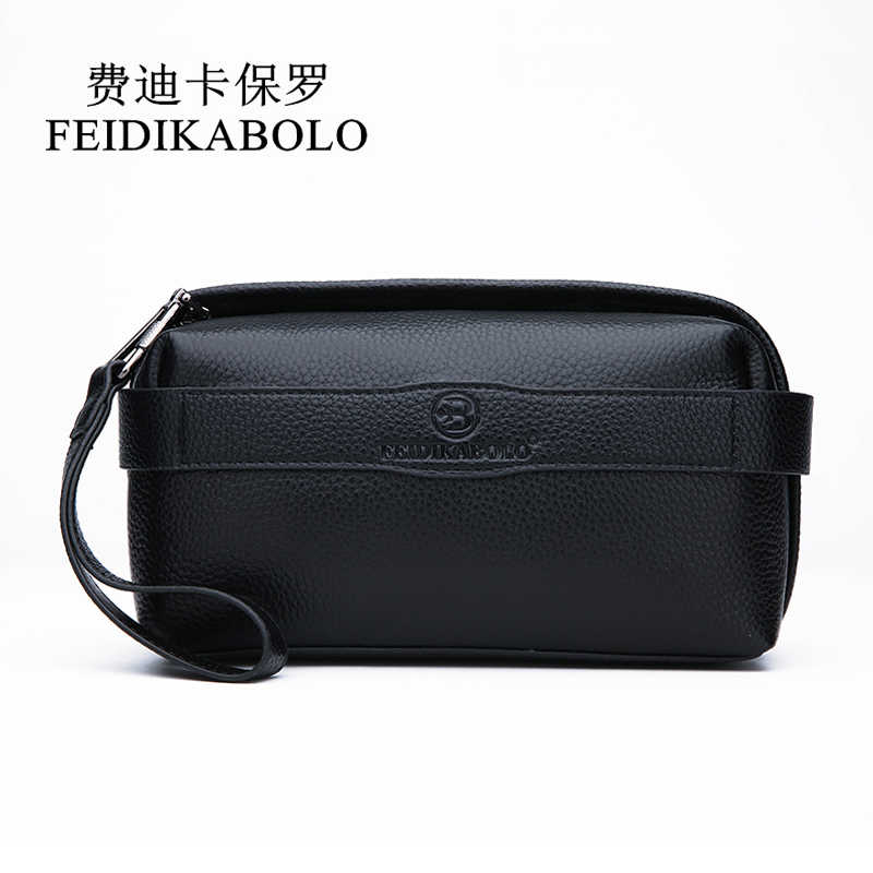 FEIDIKABOLO Men Wallet 100% Genuine Leather Purse Men's Clutch Wallets Handy Bags Black Business Carteras Mujer Wallets Man Bags