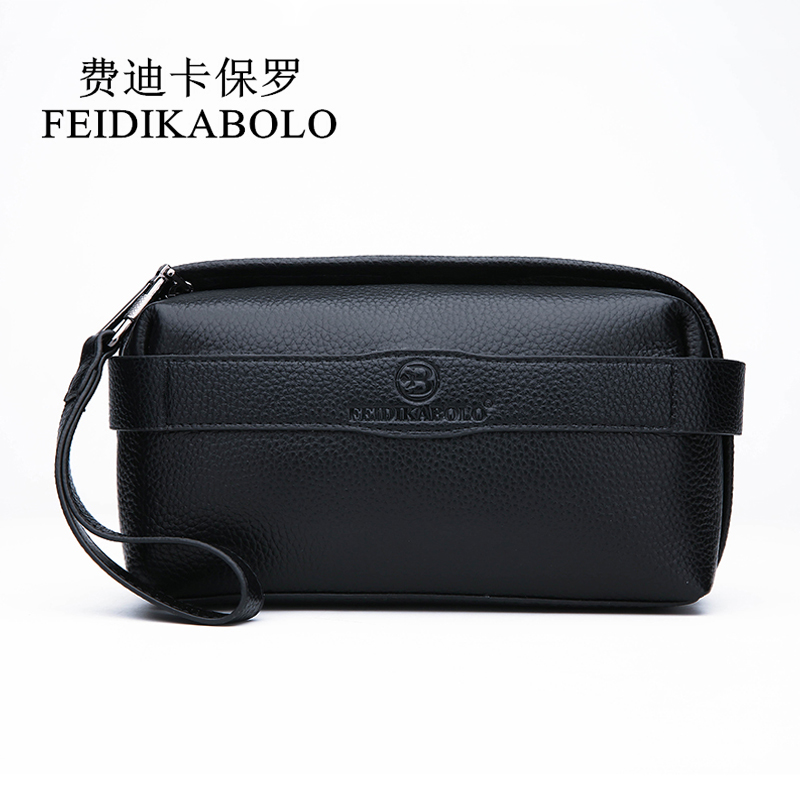 FEIDIKABOLO Men Wallet 100% Genuine Leather Purse Men's Clutch Wallets Handy Bags Black Business Carteras Mujer Wallets Man Bags men wallets 100