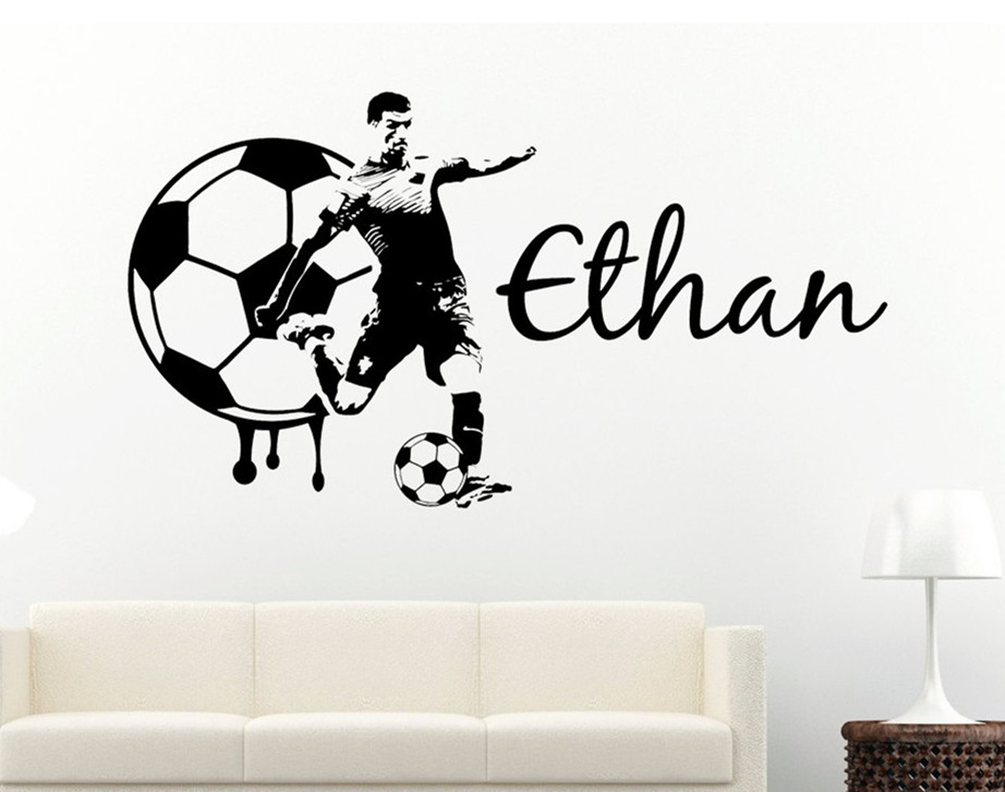 Soccer Decal Custom Name Large Player wall decal vinyl sticker - football teen boys kids bedroom Decor Wall Sticker X-11