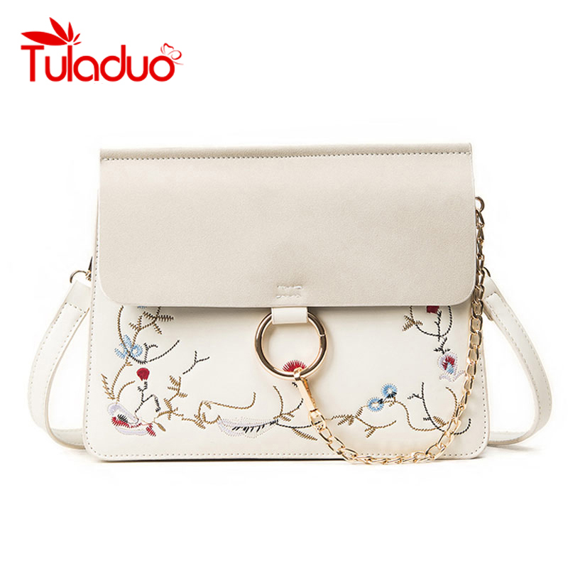 TuLaduo High Quality Designer Flap Cover Bags Embroidery Women's Handbags Ladies Messenger Bags Chains Totes Female Handbag цена
