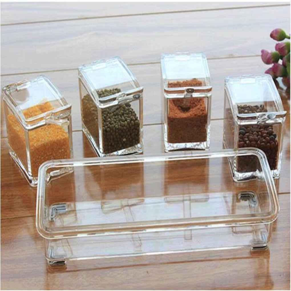 New 4 in 1 Transparent Kitchen Spice Jar Seasoning Boxes With Spoon Salt Condiment Cans Container Reusable