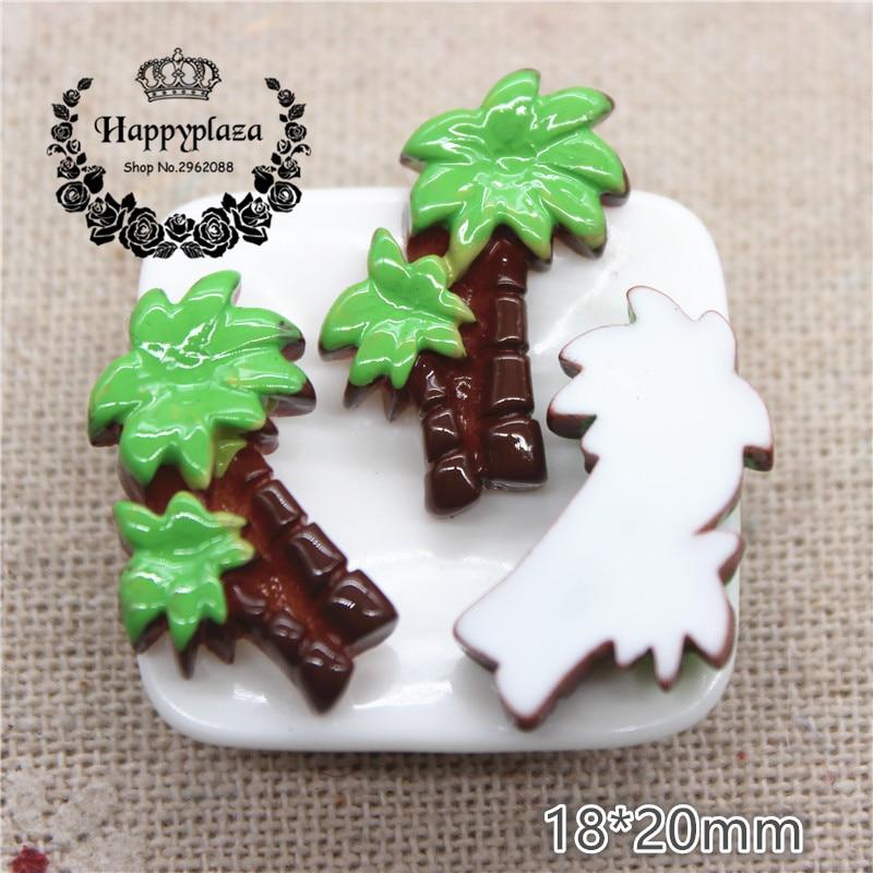 10pcs Cute Resin Coconut Tree Simulation Miniature Art Flatback Cabochon DIY Craft Decoration,18*20mm