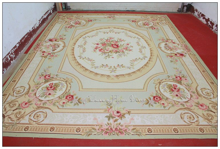 9x12 Pastel Green Ivory Pink Aubusson Area Rug Carpet