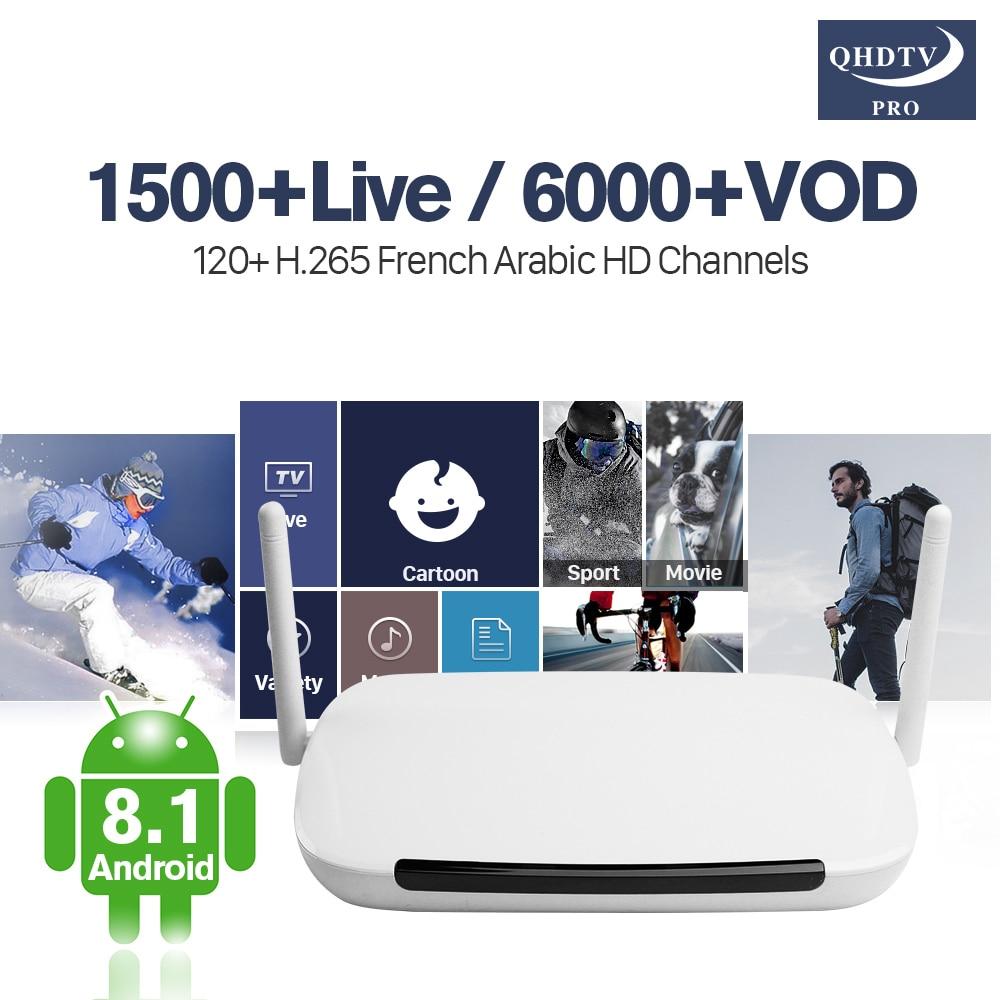 France Q9 Arabic IPTV Box Android 8.1 TV Receivers With QHDTV Pro H.265 Decoder Live 4K IP TV 1 Year QHDTV Pro Code IP TV