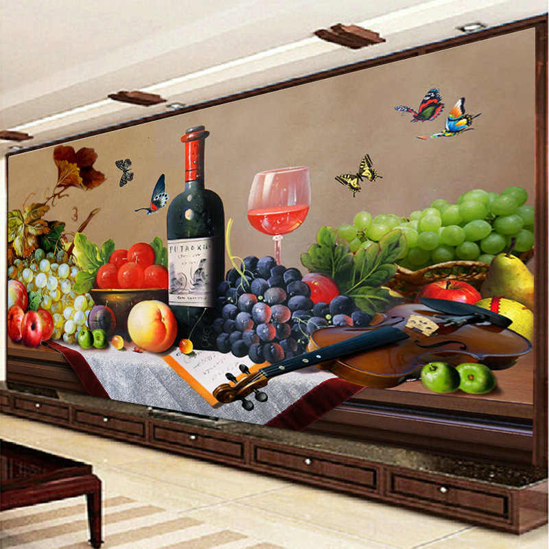 QIANZEHUI, רקמה, DIY מסעדה יין צלב תפר, עלה יין זכוכית פירות מלא רקמה, קיר בית תפאורה