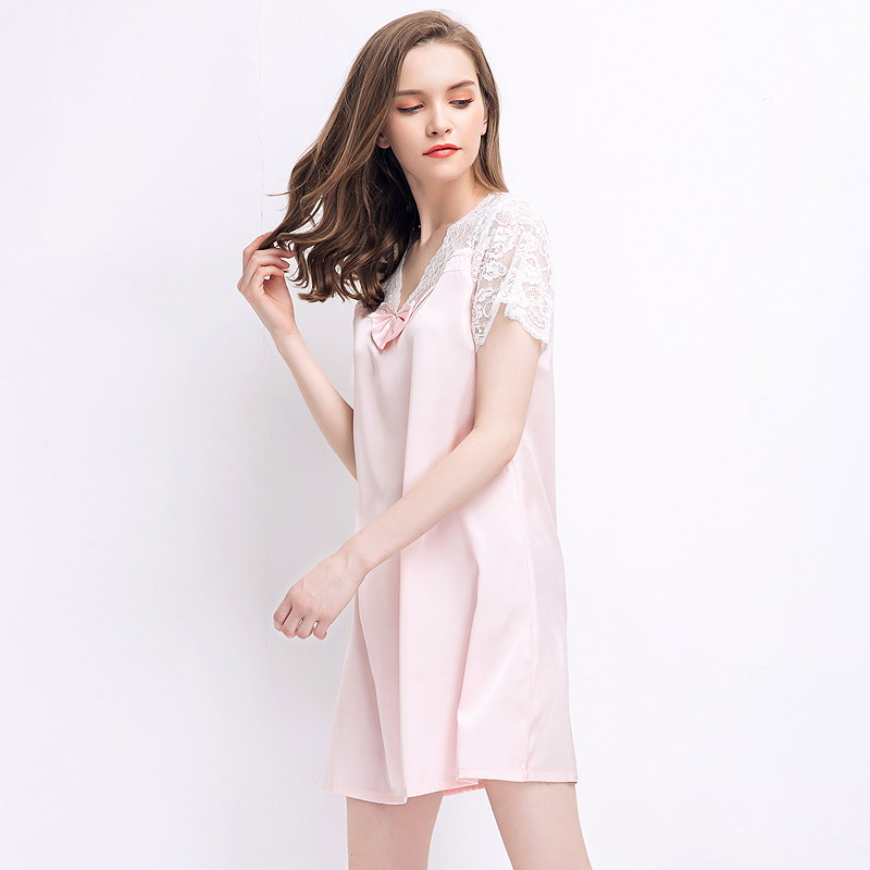 CherLemon Lace Satin Nightgown Womens Summer Short Sleeved V Neck Mid  Length Nightshirt Female Loose Loungewear Sexy Nighty-in Nightgowns    Sleepshirts from ... b04fd4916