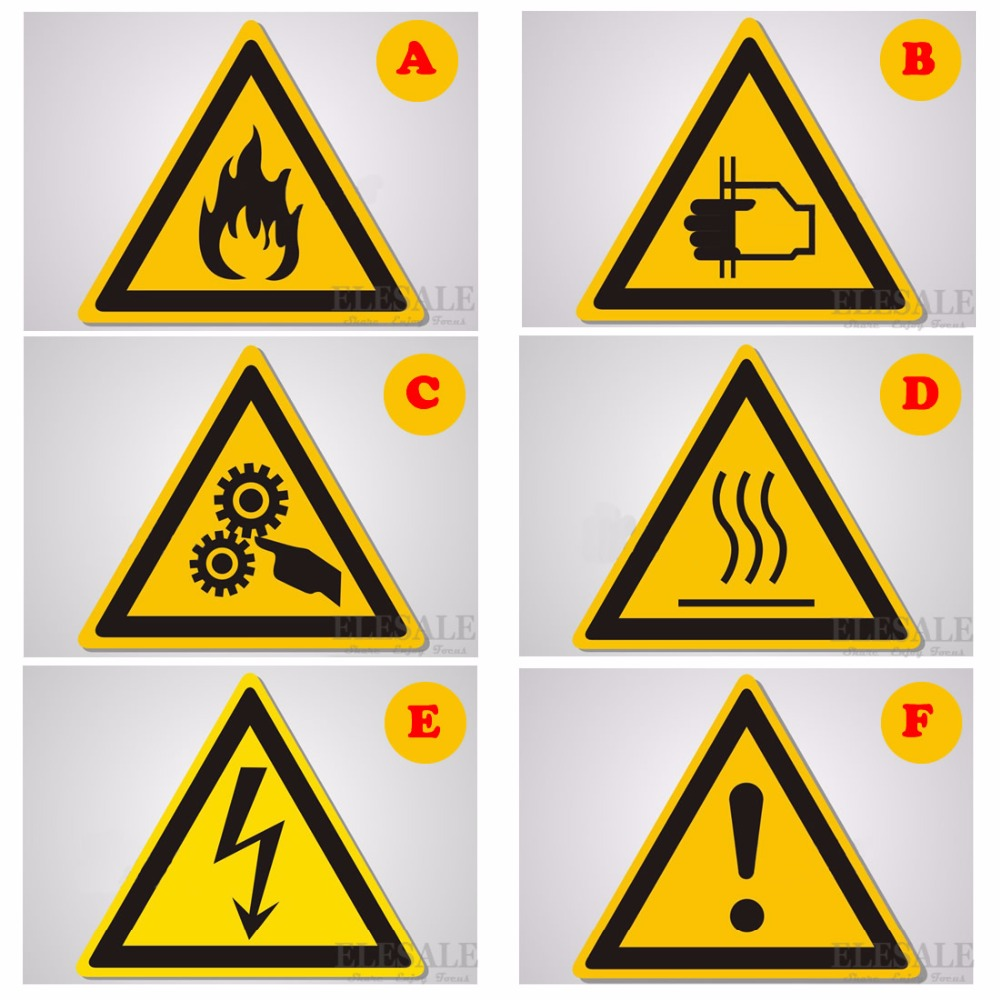 High Quality 5/Pcs Warning Signs Stickers Logo Security Safety Labels Water Oil-Proof Warning Tags Wall Machine Sticker