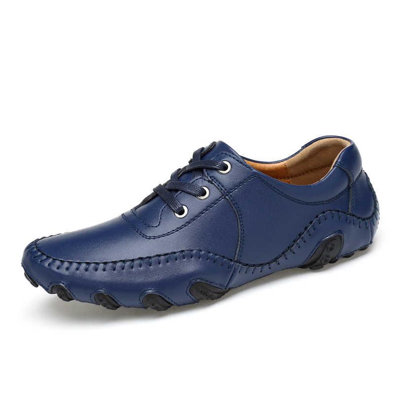 Boyutu 38-46 İngiliz tarzı erkekler rahat ayakkabılar erkekler için yürüyüş ayakkabısı moda dört S erkekler Flats siyah hakiki deri erkek loafer ayakkabılar