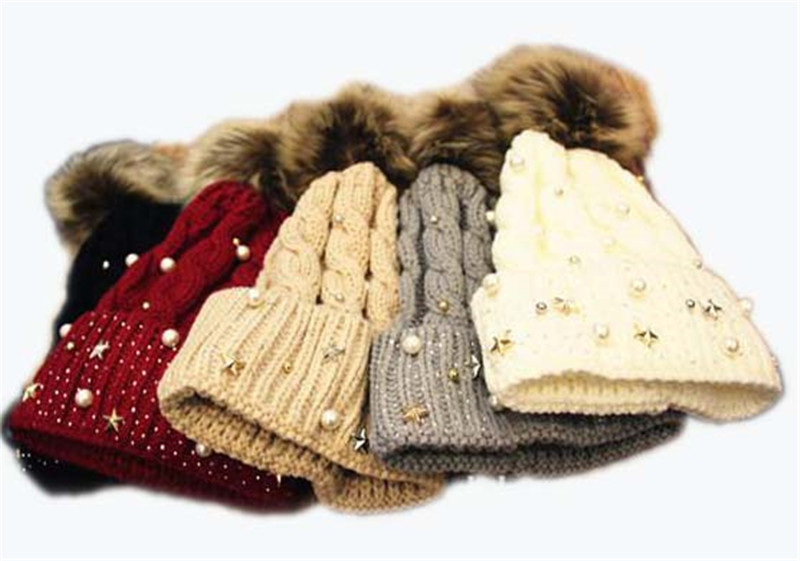 Women spiky Pearl Star knit Hat grils winter warm fux fur pom pom beanie knitted Cap