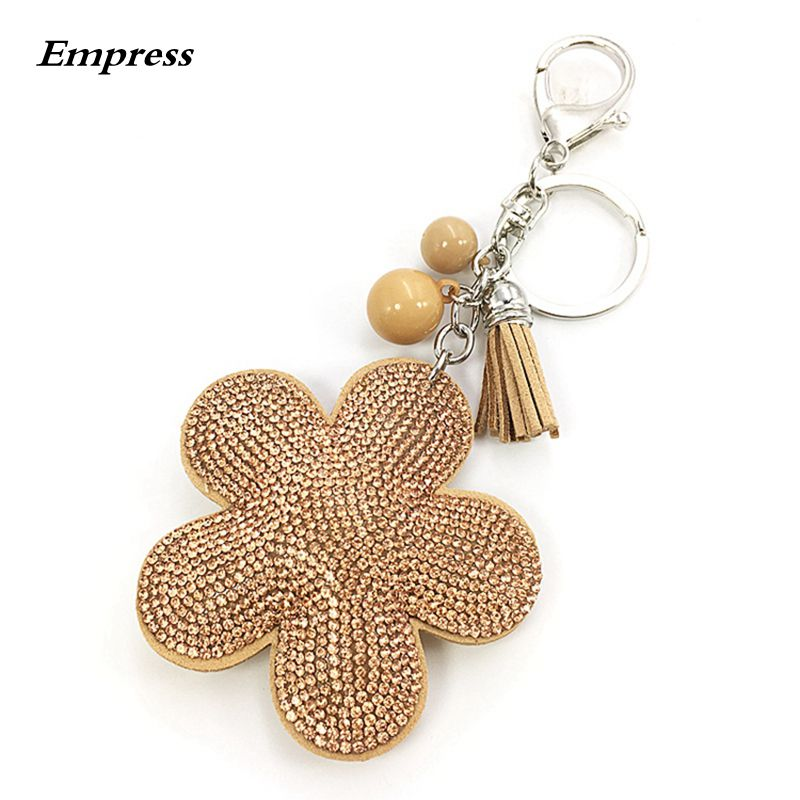 2018 Sale Chain Pompom Holder New Plum Flower Pendant Leather Chain Charming Car Bag Ring Holder Rhinestone Female Accessorie in Key Chains from Jewelry Accessories