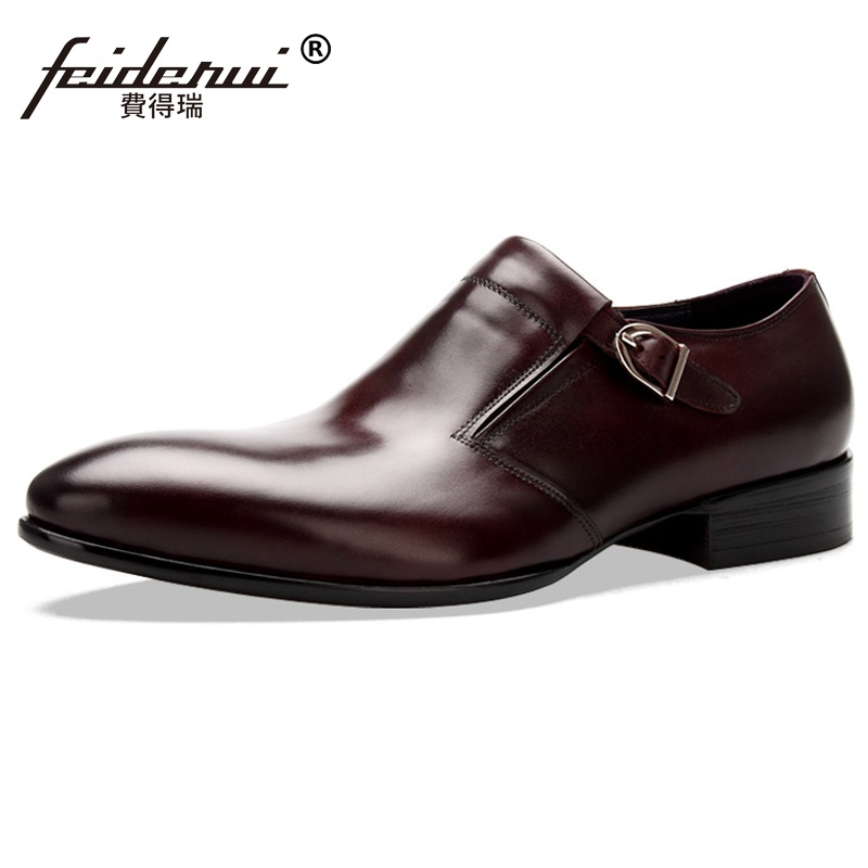 2017 Vintage Man Formal Dress Monk Straps Shoes Male Basic Genuine Leather Party Oxfords Pointed Toe Men's Bridal Flats MG46  ruimosi new arrival formal man bridal dress flats shoes genuine leather male oxfords brand round toe derby men s footwear vk94