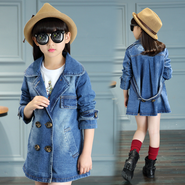 2017 spring and autumn fashion classic children's denim jacket 4-13 year-old double-breasted big pocket denim windbreaker