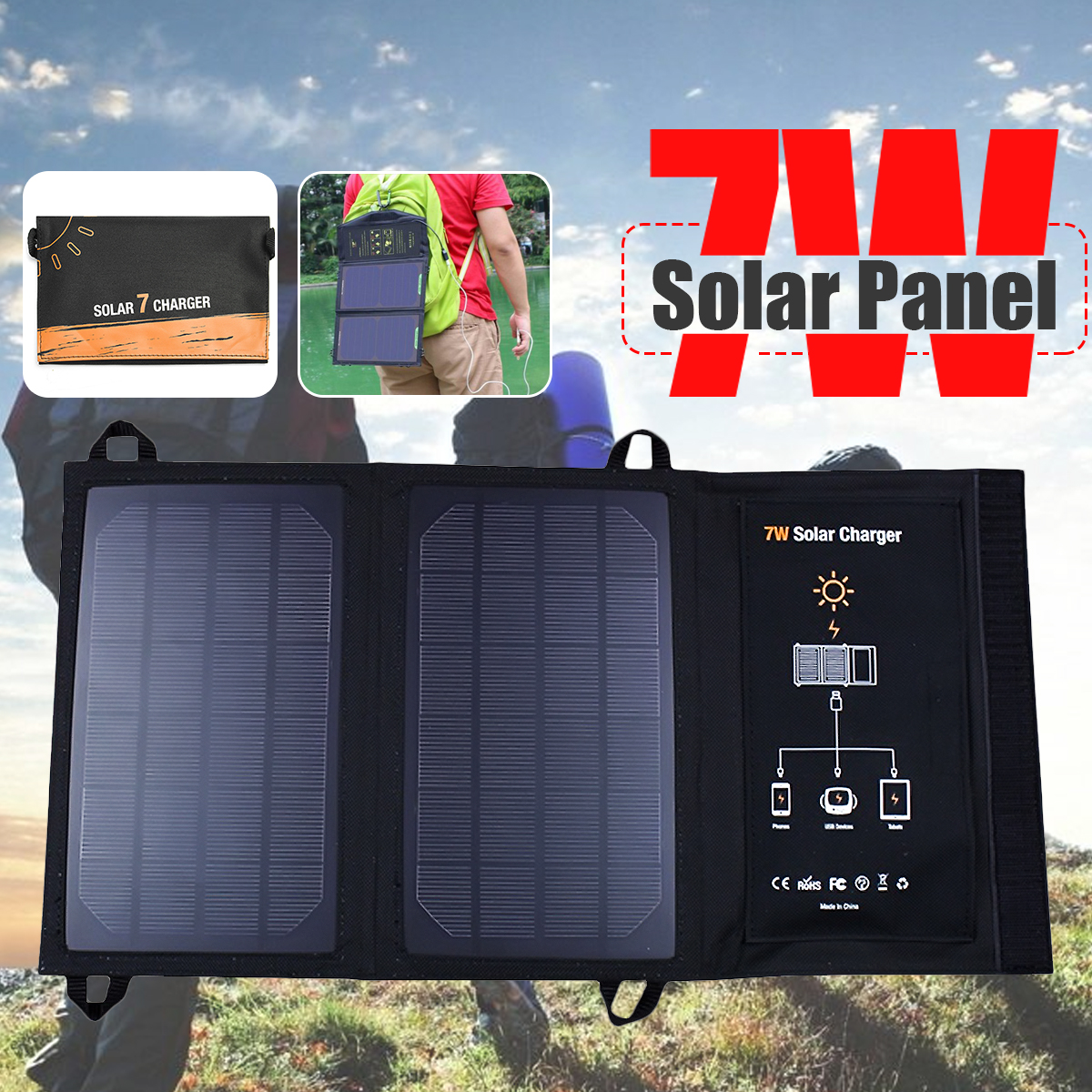 Foldable 7/15W Solar Cells Charger Folding Dual USB 5V Phone Charger Portable Sunpower Solar Panel For Outdoor Electric Product