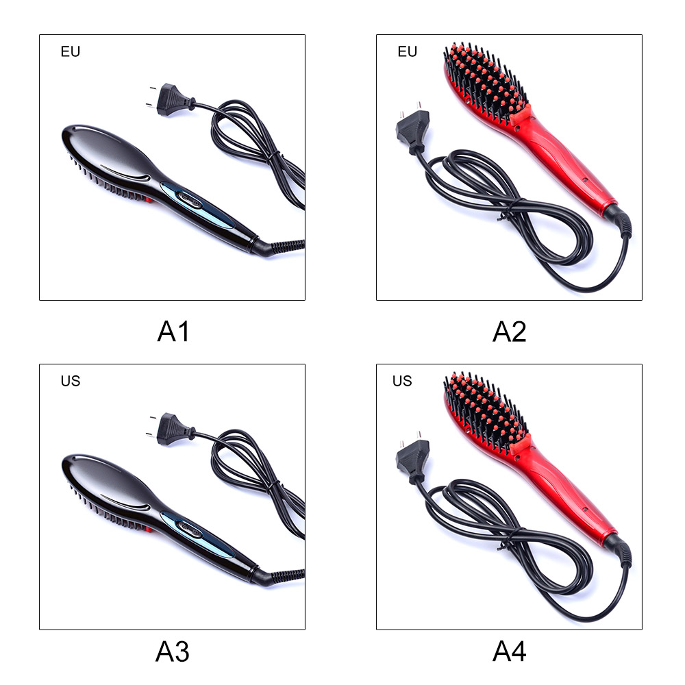 Купить с кэшбэком EU/US Portable Electric hair straightener brush Irons Comb Anti-static Massage Negative Auto Hair Brush Fast Straight Hair Comb
