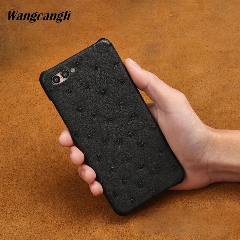Nouveau demi paquet étui de téléphone portable pour Huawei P20 lite véritable peau d'autruche coque de téléphone de luxe en cuir véritable coque de téléphone