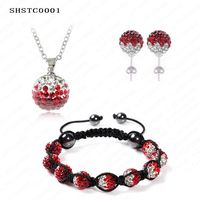 Set Necklace Earring Bracelet Gradient Color Crystal Shamballa Sets 10mm AB Clay Disco Ball Shamballa Beads