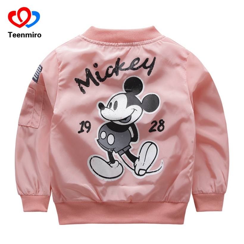 Baby Clothes Jackets for Girls Cartoon Mickey Pattern Boys Coat Toddler Kids Jacket Outwear Baseball Windproof Children Clothing