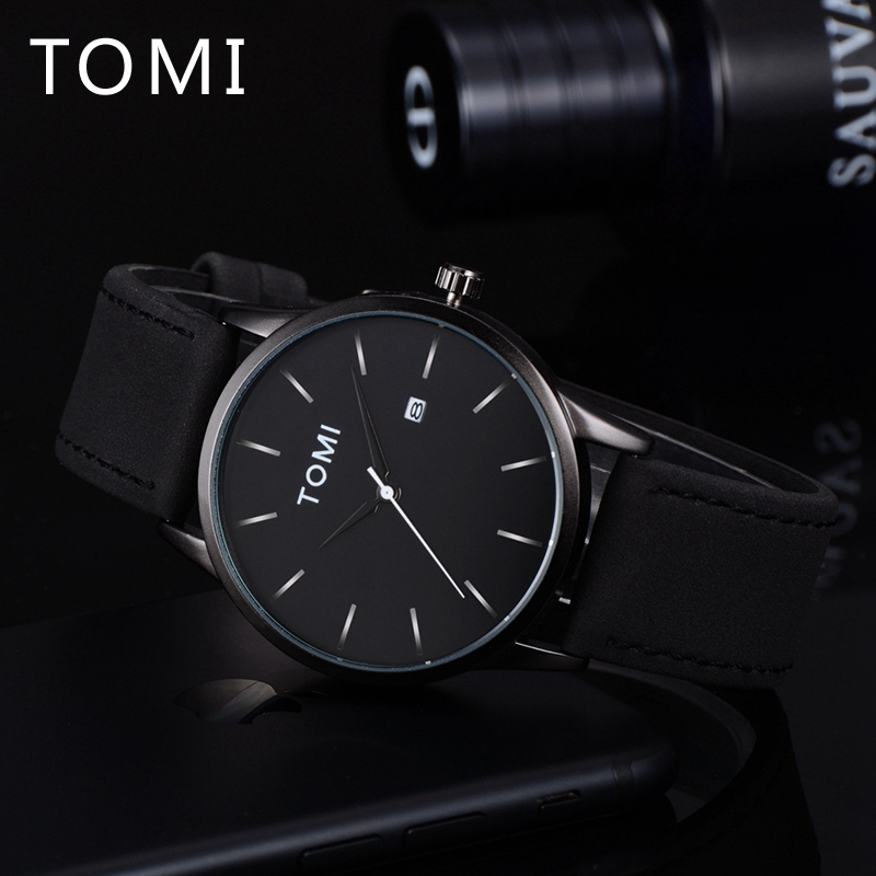 Tomi Luxury Men Watches Brand Fashion Casual Quartz Wrist Watch Business Dress Leather Strap Simple For Male Gift Clock T015 bamboo wood watches for men and women fashion casual leather strap wrist watch male relogio