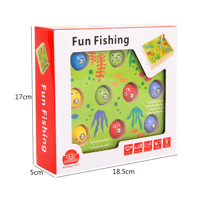 2019 New Toy Solid Wood Children 3D Stereoscopic Fishing Toy Suit Fun Fishing Male/Girl Baby Kittens Magnetic Fishing Games Toys