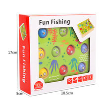 2018 New Toy Solid wood children 3D stereoscopic fishing toy suit Fun Fishing Male/girl Baby kittens magnetic fishing games toys