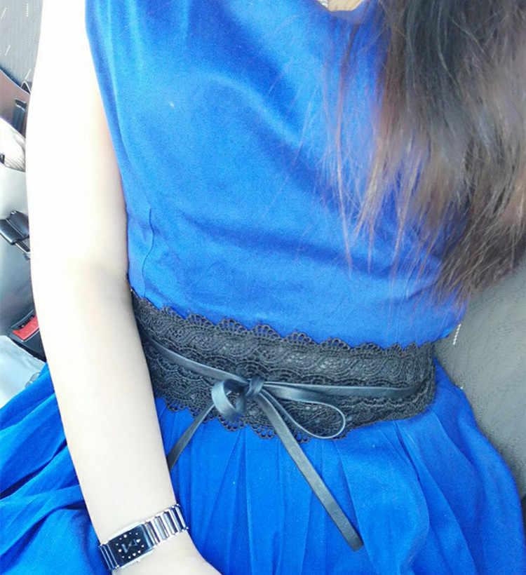 73f95a6f5d6 ... Belt For Women Dress Bowknot Faux Leather Lace Wide Belt Self Tie Obi  Cinch Waist Band ...
