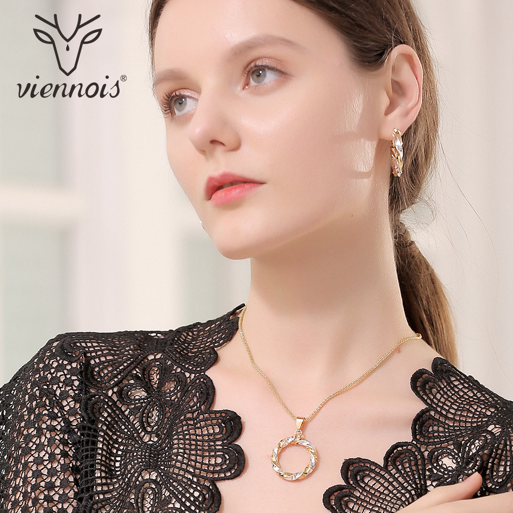 Viennois New Circle Jewelry Sets for Women Mixed Gold & Silver Color Round Pendant Necklace Earrings Set viennois luxury silver color jewelry sets for women blue crystals chain necklace earrings set bridal set wedding jewelry set
