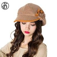 FS צרפתית כומתה צמר אופנה נשים סתיו חורף פרח כתום כחול חאקי אפור כומתות כובע כובעי כובע Newsboy טוויד גטסבי