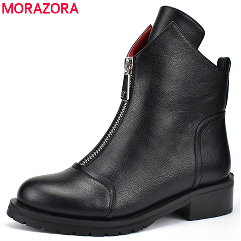 MORAZORA 2020 new fashion shoes woman ankle boots simple zipper comfortable  boots square heels autumn winter boots-in Ankle Boots from Shoes