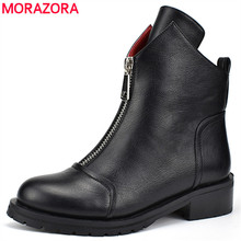 MORAZORA 2020 new fashion shoes woman ankle boots simple zipper comfortable  boots square heels autumn winter boots