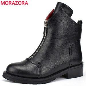 Image 1 - MORAZORA 2020 yeni moda ayakkabılar kadın yarım çizmeler basit fermuar rahat botlar kare topuklu sonbahar kış çizmeler