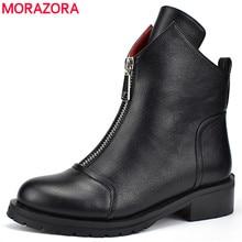 MORAZORA 2020 새로운 패션 신발 여성 발목 부츠 간단한 지퍼 편안한 부츠 광장 발 뒤꿈치 가을 겨울 부츠