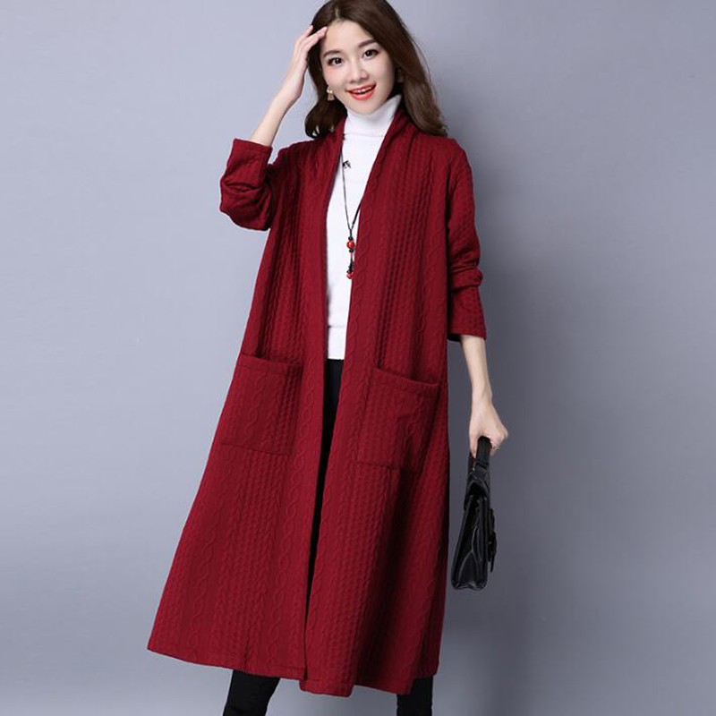 Vintage   Trench   Coat for women Autumn Winter 2018 New Warm Thick Long Cardigan coat Sweet Pockets Plus size Cardigan Coat