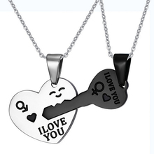 Couple Necklaces Set Pendant Necklace Engrave I Love You Matching Hearts Key 316l Stainless Steel