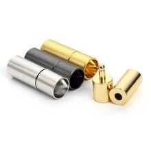 LOULEUR 20pcs Nero/Oro/Rhodium Metallo End Caps End Catenacci Fit 2.5/2/3/4/5/6 millimetri Rotonda del Cavo di Cuoio Braccialetto per Monili Che Fanno