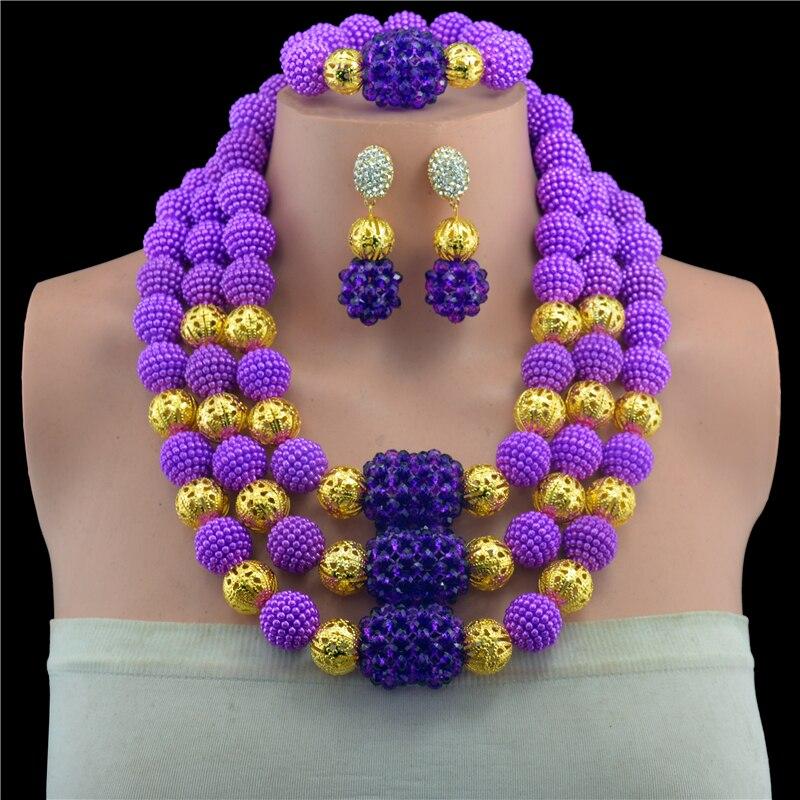 New 2017 Exclusive Purple Nigerian Wedding African Beads Jewelry ...